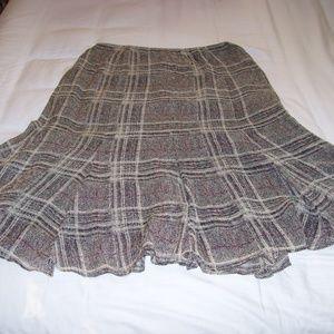 AK Anne Klein 100% Silk Skirt Black Red Gore Sz 6